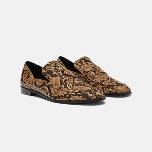Zara Snakeskin Animal Print Loafers Flats Size 6.5